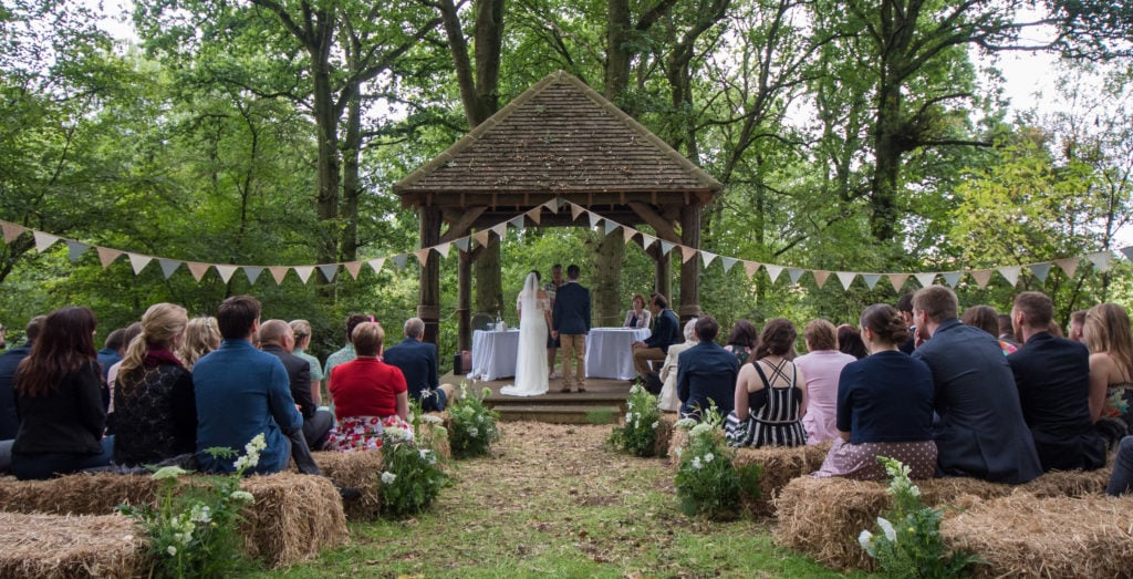 Outdoor wedding in a woodland